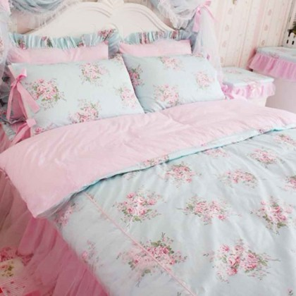 Shabby Blue Rose Twin Bedding Set