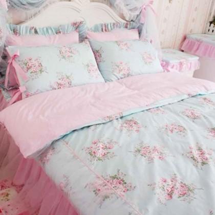 Shabby Blue Rose Twin Bedding Set