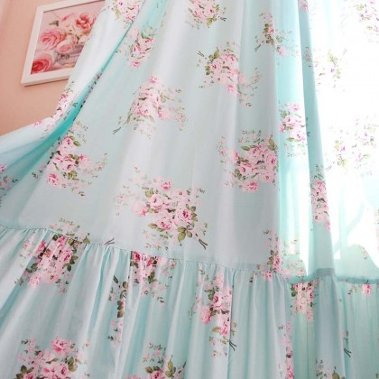 Long Mermaid Ruffle Rose Curtain Panel