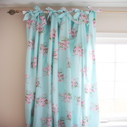 Shabby Chic Blue Rose Curtain