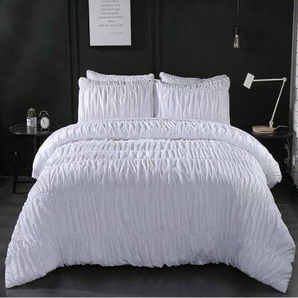 White Ruched Duvet Cover Set