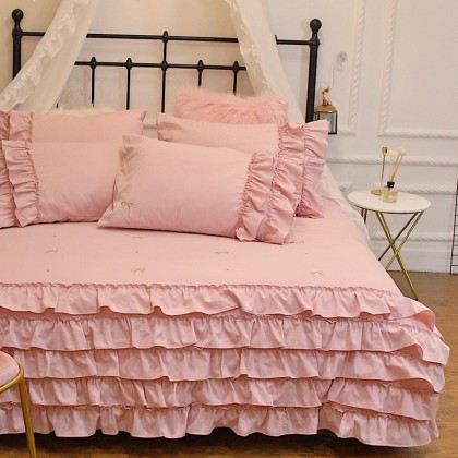 Pink Ruffle Duvet Cover Set