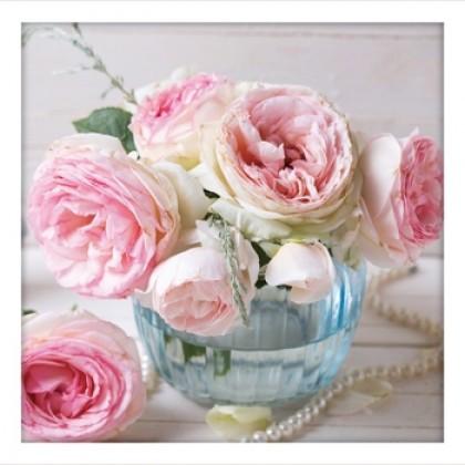 Shabby Vintage Roses Blue Vase Print