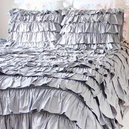 Grey Waterfall Ruffle Duvet Cover Set