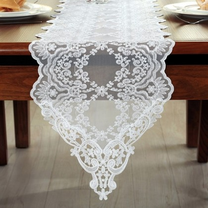 Lace Embroidered Cutwork Table Runner