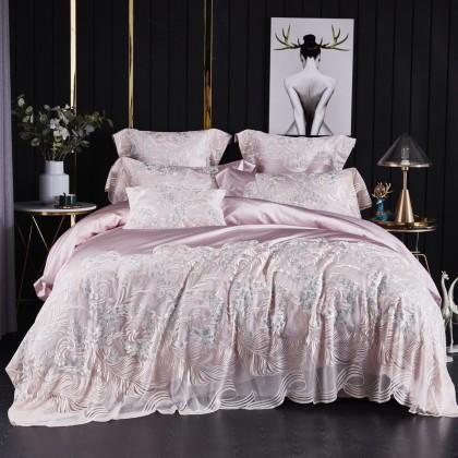 Pink Vienna Lace Egyptian Cotton Duvet Cover Set