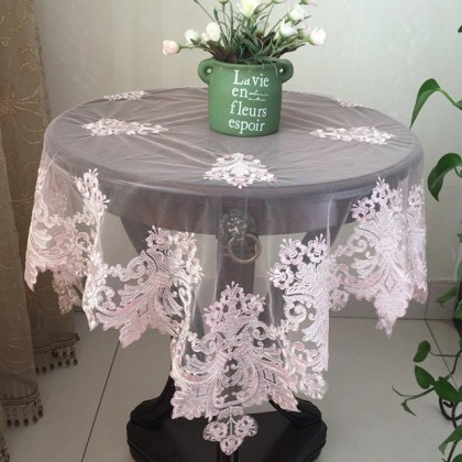 Pink Delicate French Lace Table Topper Overlay