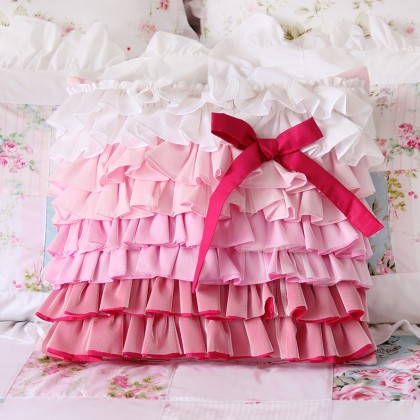 Pink Ombre Gradient Ruffle Bow Cushion Cover