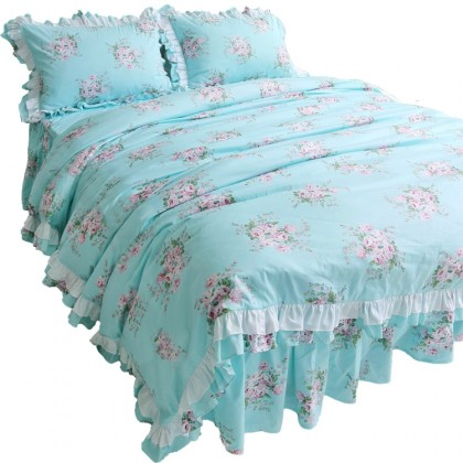 Farmhouse Rose Aqua Blue Duvet Cover Set