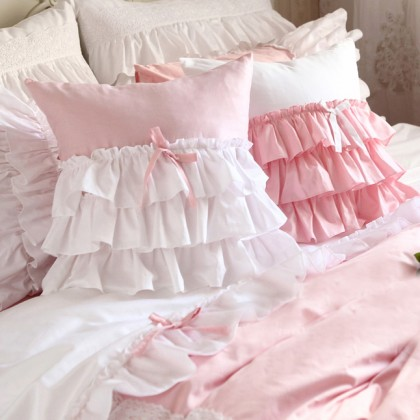 White Pink Ruffle Cushion Cover