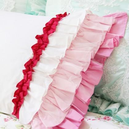 Pink Ombre Sheer Ruffle Pillow Sham