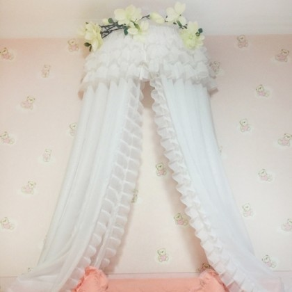 Double White Sheer Bed Canopy Ruffle Curtains