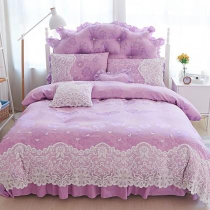 Purple Paris Lace Egyptian Cotton Duvet Cover Set