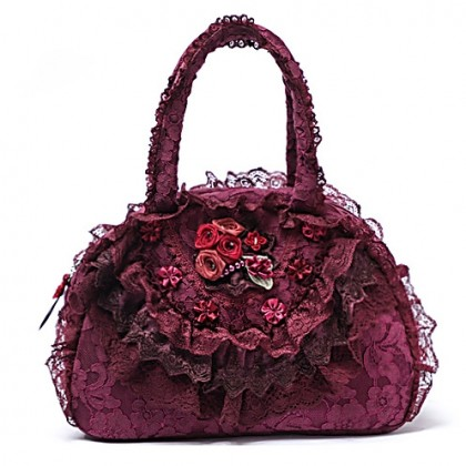 Deep Red Lace Ruffled Bag