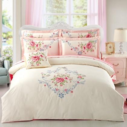 Rose Embroidered Duvet Cover Set