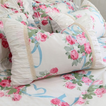 Pink Rose Ribbons Duvet Cover Set