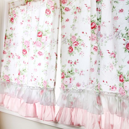 White Romance Ruffle Curtain Set