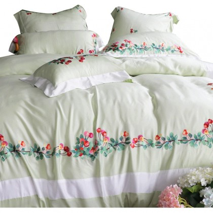 Summer Fruits Embroidery Duvet Cover