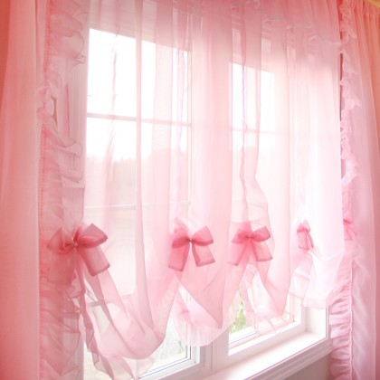 Princess Pink Sheer Balloon Curtain Shade