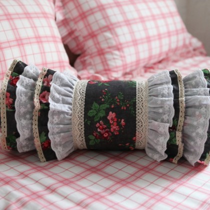 Vintage Floral Bolster Ruffled Roll Candy Pillow Cover