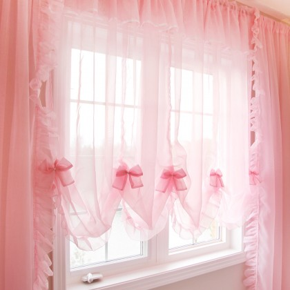 Princess Pink Sheer Curtain Set