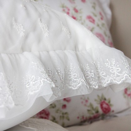 Embroidery Lace Duvet Cover Set-Ecru