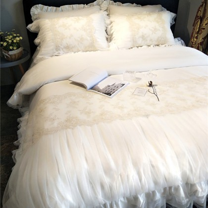French Lace Ruched White Duvet Cover
