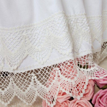Double Cotton Lace White Bedskirt