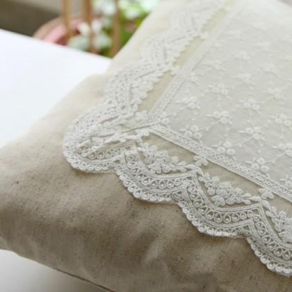 Vintage Embroidery Linen Lace Parisian Cushion Cover