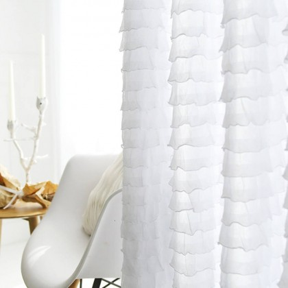 White Mini Ruffle Curtain Panel
