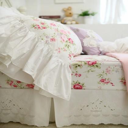 Mermaid Long Ruffle Pillowcase-White Romance
