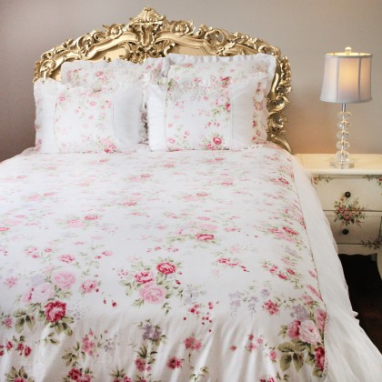 White Romance Ruffle Ruched Duvet Cover Set