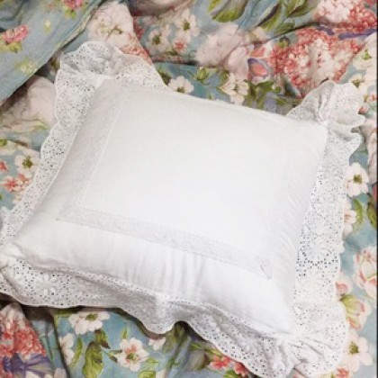 Elegant White Lace Cushion Cover