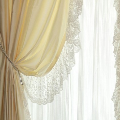 Paris Silk Curtain Panel with Lace Border