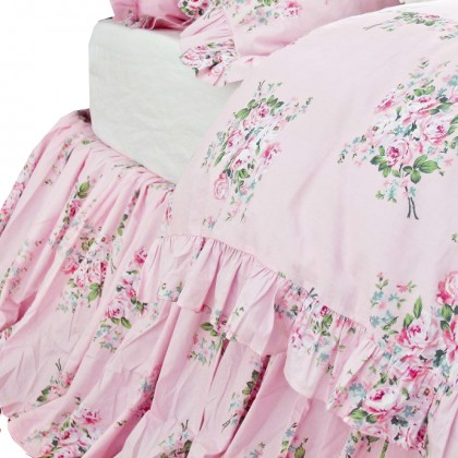 Shabby Pink Roses Bed Skirt