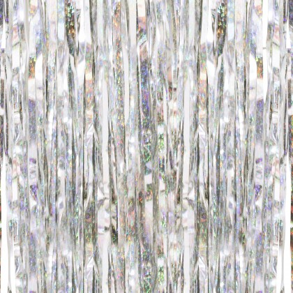 Silver Holographic Iridescent Fringe Foil Curtain Party Hanging Decoration