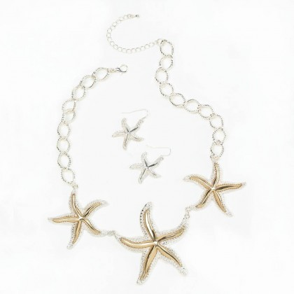 Shimmering Starfish Jewelry Necklace Set