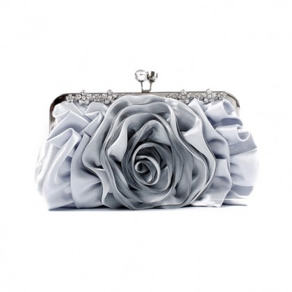 Blooming Rose Purse,  Silver