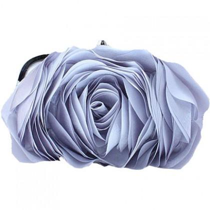 3D Rose Purse,  Silver