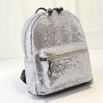 Silver Sequin Backpack