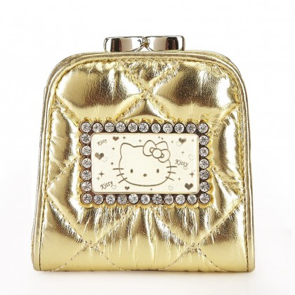 Hello Kitty Shiny Patent Leather Gold Pouch