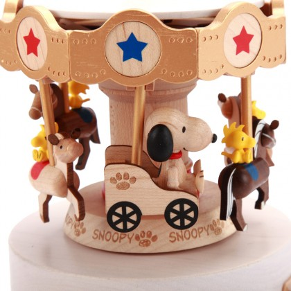 Snoopy & Woodstock Carousel Music Box - Merry Go Round Peanuts Collection
