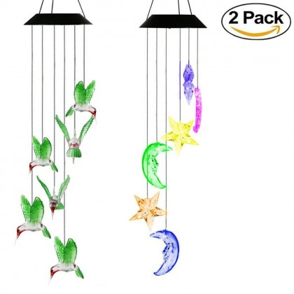 Solar Glow Moon Star Bird Led Lawn Night Light 2 pack