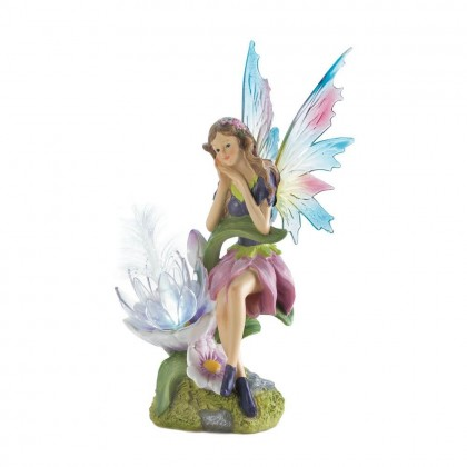 Fairy with Solar Power Flower Light ( 2 sets of interchangeable wings)