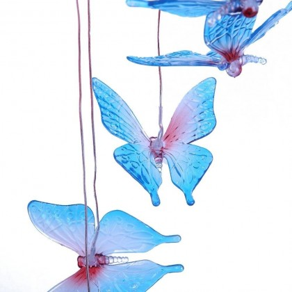 Solar Blue Red Butterfly Decor Led Night Light