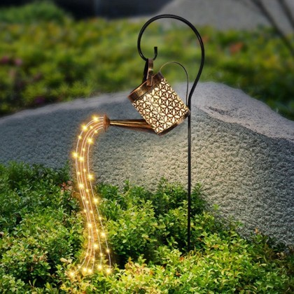 Solar Garden Light Watering Can Lace Lantern