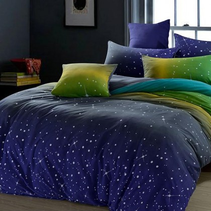 Blue Gradient Stars Duvet Cover Set