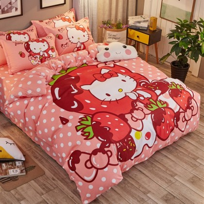 Hello Kitty with Strawberries Duvet Cover Set