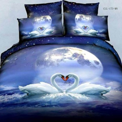 Swans on Moon River Duvet Cover Set