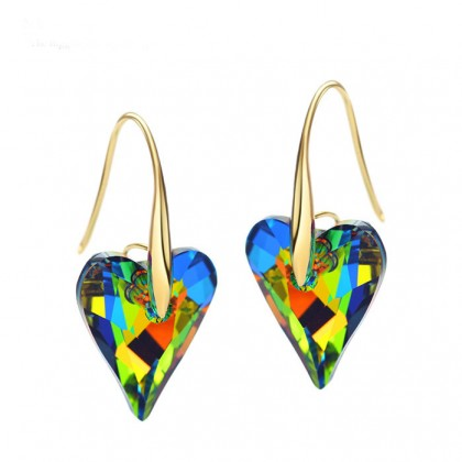 Rainbow IirIdesicent Heart Earrings